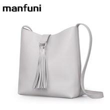 MANFUNI 100% Echte Lederne Beutel Für Frauen 2017 Designer Umhängetasche Lässig Einfache Frauen Messenger Bags Geschenk Schwarz Weiß 0837