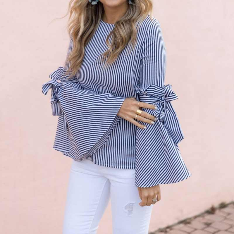New Vintage Women Blouses Long Flare Sleeve Striped Shirt Bowknot Tops Casual Blouses Women's