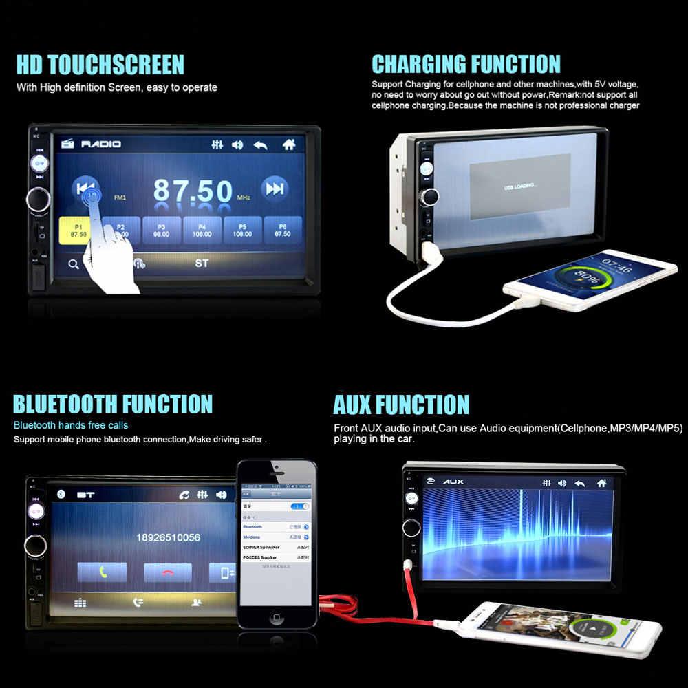 """Podofo 2 喧騒車の無線カーマルチメディアプレーヤー 7 """"カーステレオプレーヤー MP5 タッチディスプレイ Bluetooth USB Autoradio カーバックアップモニター"""