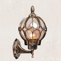 American vintage bronze aluminum waterproof outdoor wall sconce light fixture European cognac glass ball E27 LED bulb wall lamp