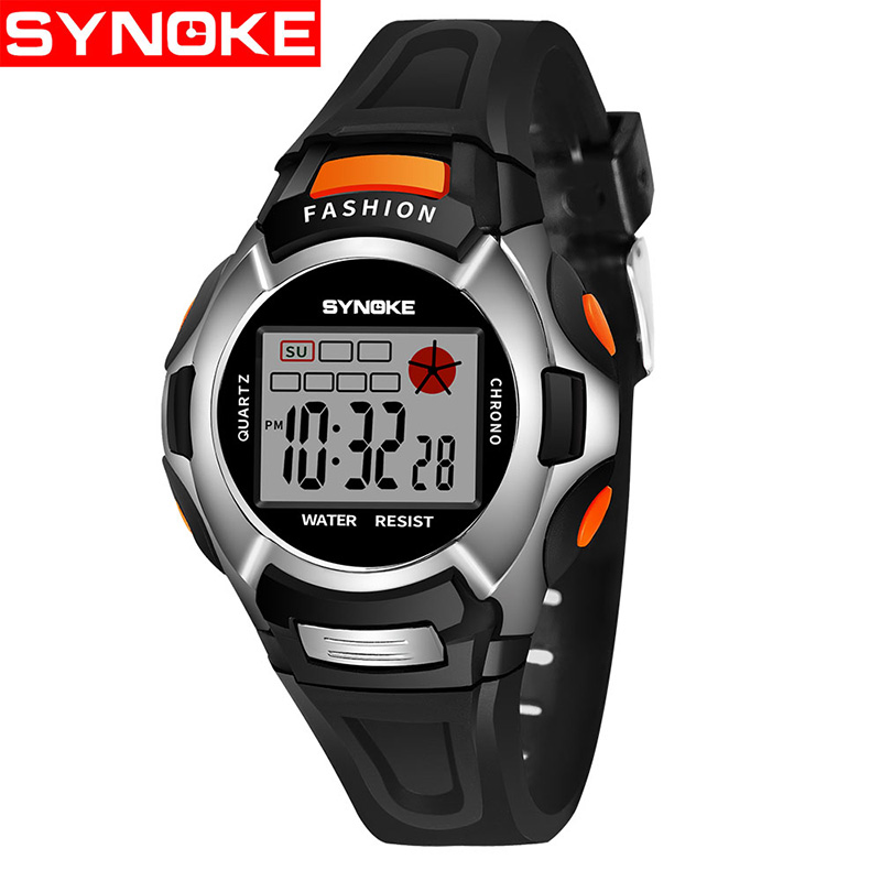 Synoke Children Watches Cute Kids Watches Sports Cartoon Watch For Girls Boys Rubber Children's Digital LED Wristwatches Reloj