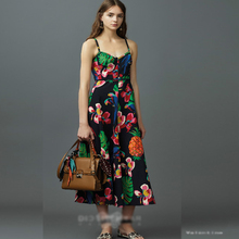 Ky Q 2017 summer beach women boho Slip dresses sexy spaghetti strap parrot floral print mid