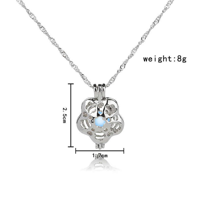 Pearl cage Rose Flower necklace pendant essential oils diffuser locket for luminous ball glowing ball oyster pearl women girl
