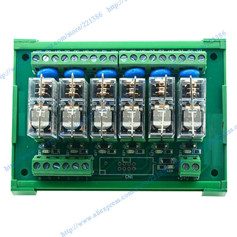 24V 16A Omron Relay Module 6 Channel Driver Board Output Amplifier Board PLC Board Omron Relay G2R-1-E Omron PNP Relay Module