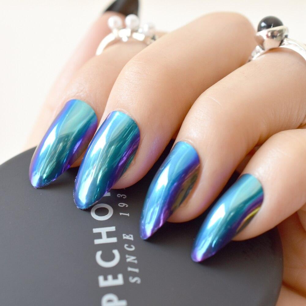 Chameleon Spiegel Acryl Falsche Nagel Mode Gefälschte Nägel Lila ...
