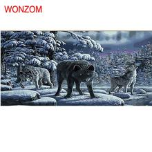 snow wolf frameless animal DIY digital painting by numbers kits acrylic color drawing for living room cheap