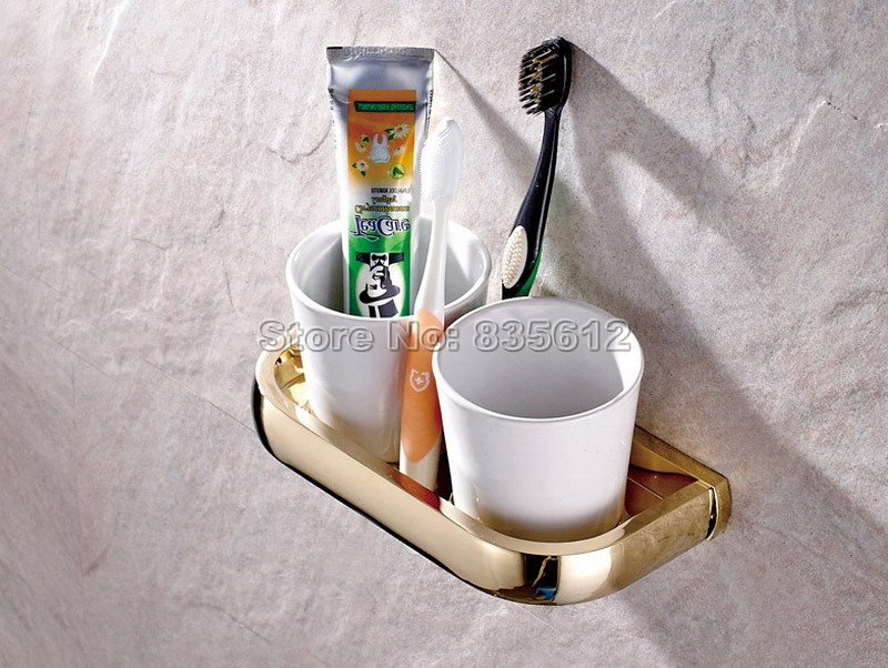 Gold Color Brass Finish Bathroom Accessory Toothbrush Holder Set with Two Ceramic Cups Wall Mounted Wba846 oil rubbed bronze wall mounted dual cup holder toothbrush holder w two ceramic cups