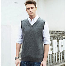 Fashion Knitted vest Pullover Mens Sweaters V-Neck Sleeveless Vest Slim Fit  Sweaters For Men Outwear Clothes Male 8eb2d6b00