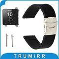 24mm faixa de relógio de borracha de silicone alça de liberação rápida para sony smartwatch 2 sw2 cinta fivela de segurança correia de pulso pulseira preta