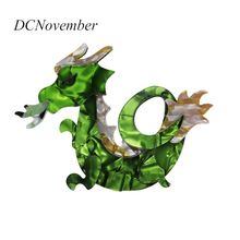DCNovember Vintage 3 Farver Dragon Brooches Women Men Resin Acrylic Acetate Celluloid Brooches Gifts