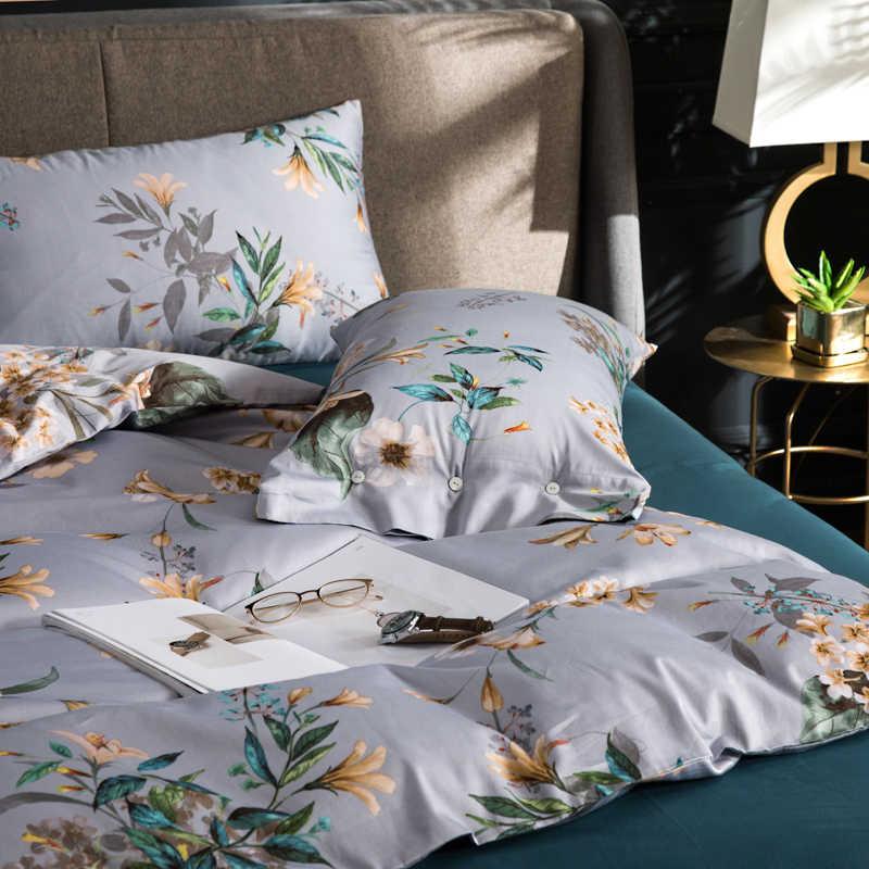 2018 Комплект постельного белья с желтыми цветами, серый светильник, 4 шт., Королевский размер, Египетский хлопок, пододеяльник, плоский лист, наволочки