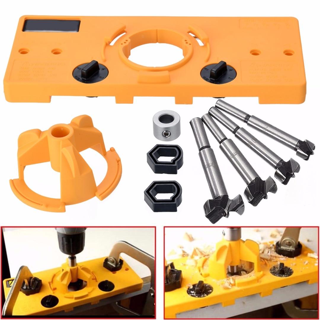 DWZ Concealed Hinge Jig Boring Hole Drill Guide + Forstner Bit Wood Cutter