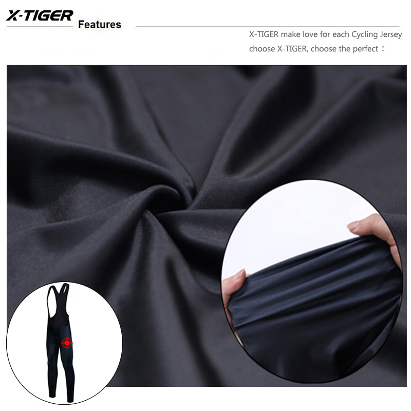 X-Tiger Winter Cycling Thermal Bib Pants With 3D Gel Pad Bicycle Quick-Dry Cycling Pants Keep Warm Whole Black MTB Bike Trousers 6