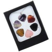 SUNYIK Crystal Heart Charm Pendant For Necklace Chakra Healing Stone Set Of 6