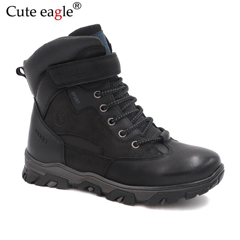 Bottes en feutre de garçons d'hiver d'aigle mignon, bottes en caoutchouc résistantes au froid et à l'usure pour les bottes en cuir mat de couture sans couture de garçons