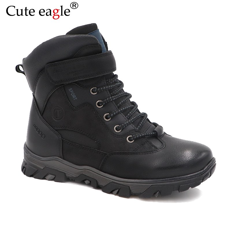 цена Cute eagle Winter Boys Felt Boots Cold and Wear Resistant Natural Leather Children Boots Seamless Stitching Matte Leather Boots