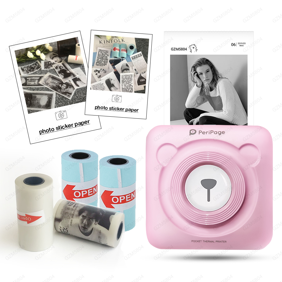 Peripage Mini Pocket Photo Printer Portable Thermal Pictures Printer Bluetooth USB For Mobile Android iOS Phone