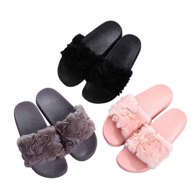 HEE GRAND Women Winter Rose Slippers Flock Fashion Plush Shoes Women Faux  Fur Slip On Girl bb539a3b9d3e