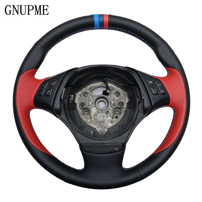GNUPME Qualité bricolage À La Main-Cousu Noir Artificielle En Cuir volant de voiture couvercle pour bmw E90 E46 E39 330i 540i 525i 530i E53