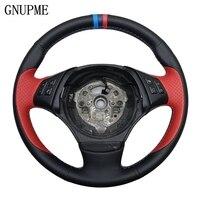 GNUPME Quality DIY Hand Stitched Black Artificial Leather Car Steering Wheel Cover for BMW E90 E46 E39 330i 540i 525i 530i E53