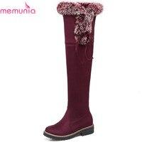 MEMUNIA Fashion New Arrive Women Boots Round Toe Zipper Flock Square Heel Ladies Boots Cross Tied