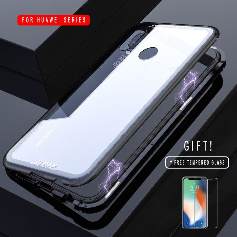 Magnetische Adsorption Fall für Huawei Mate 10 Pro Luxus Magnet Metall Aluminium Telefon Glas Abdeckung für Huawei Ehre 10 P20 lite