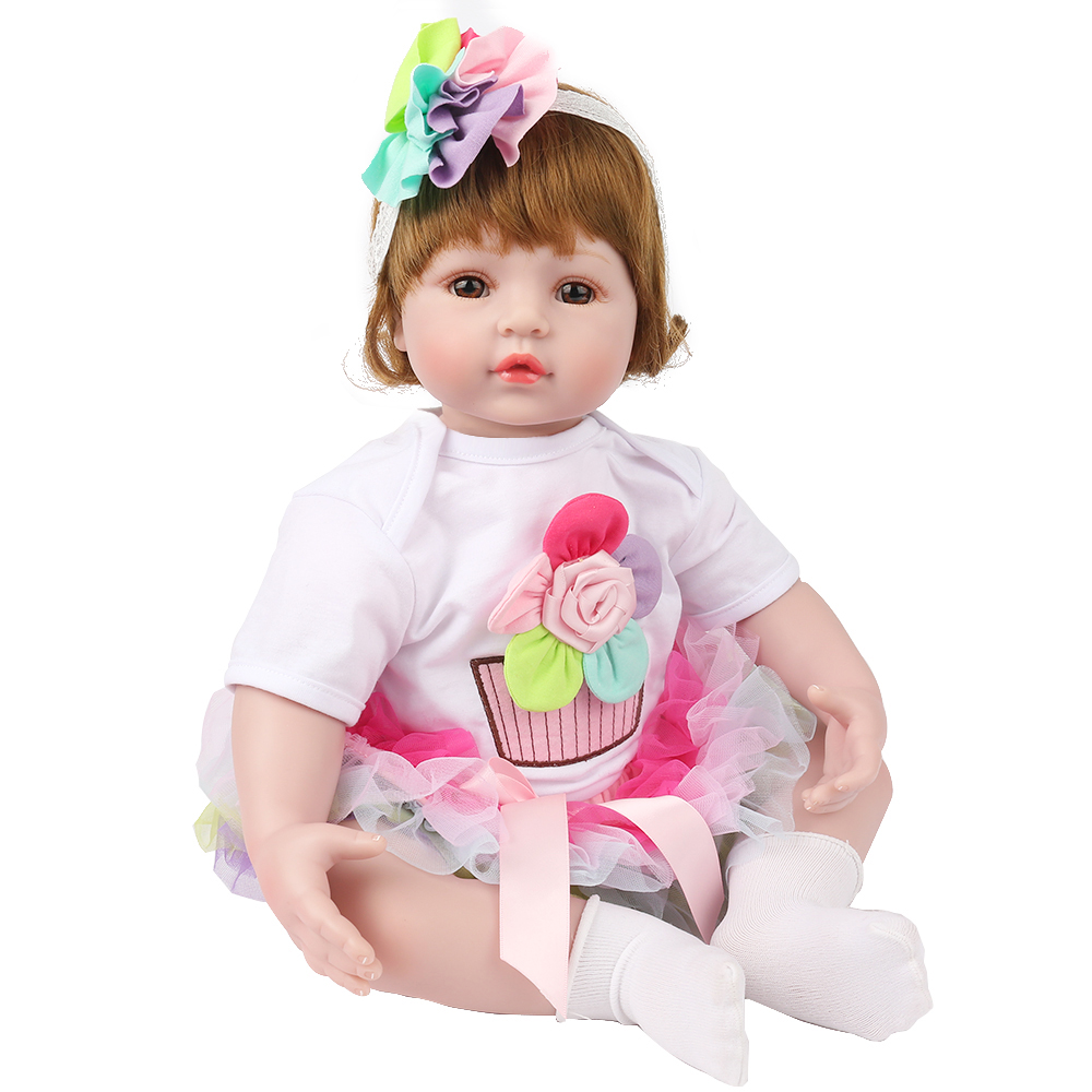 KAYDORA 22Inch 55cm Silicone Reborn Baby Dolls Baby Alive Adorable Lifelike Toddler Kids Toys Flower Birthday Christmas Gift
