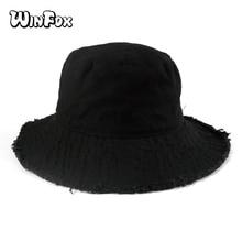 Winfox 2018 New Summer Black Grey Camel Solid Color Denim Canvas Gorro Pescador Big Brim Bucket Hats With Fringe Mens Womens