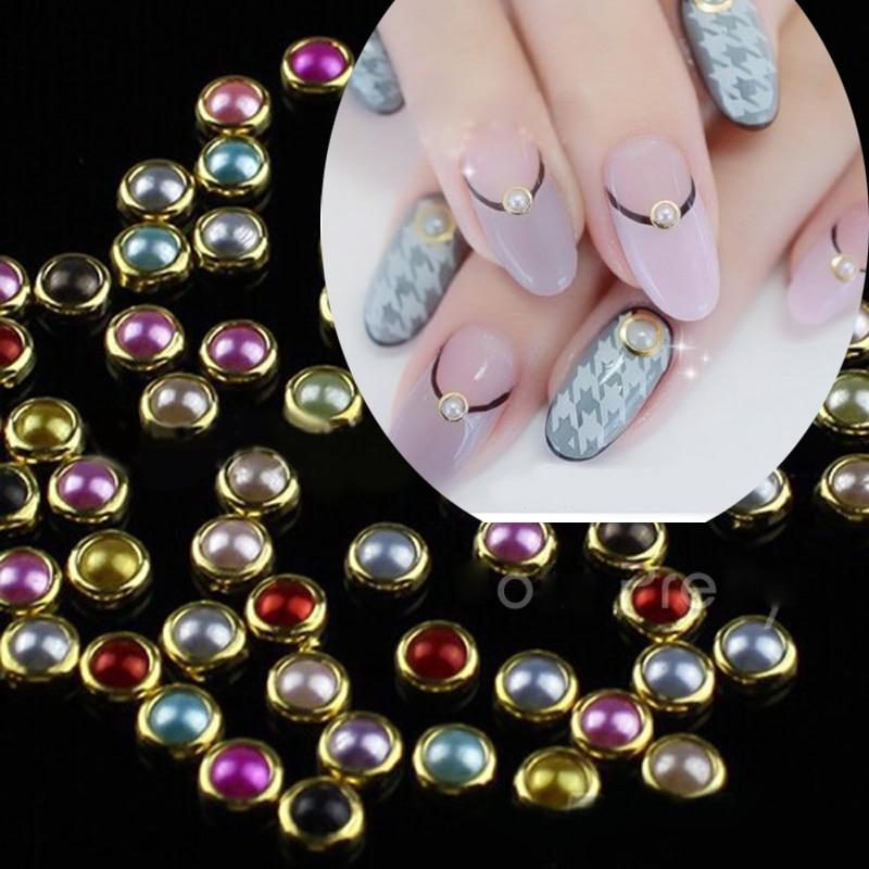 500pcs Colorful Pearl Rhinestones Metal Edge Mixed Size 3D Nail ...