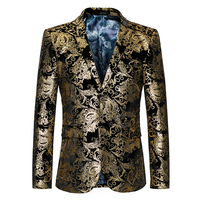 2017 nieuwe komen herfst winter mode mannen goud bloem patroon suits top kwaliteit avondfeest presentatoren slanke blouser M om 6XL