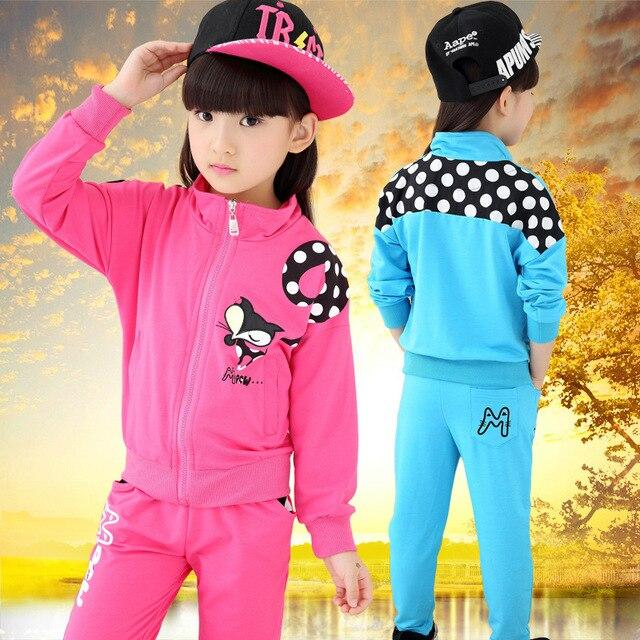 ca56cf569 Children Autumn Wear Cardigan Suit Clothes Girls Stamp Primary Fox Girls  Clothing Set