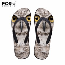 FORUDESIGNS Summer Beach Flip Flops Men Slippers Cute 3D Yorkshire Terrier Owl Printed Sandals 2018 Dog Fashion Boys Flats Shoes
