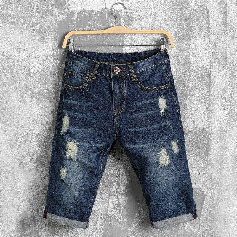 Homme Dos Homens denim shorts Calças Jeans masculinas de verão buraco Casuais  calças Slim tamanho grande soltas calções de Lazer finas calças de Brim Dos  ... 72a96079efa1c