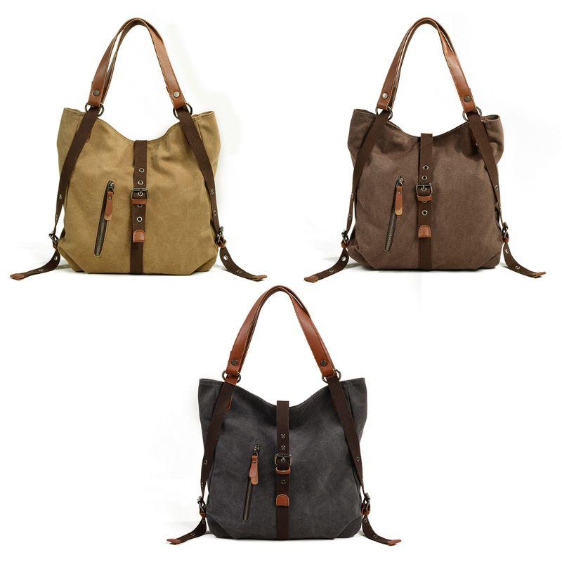 Fashion New Women Canvas Tote Bag Backpack Lady Female Multifunction Casual Shoulder Bag Rucksack Convertible Bookbag Daypack