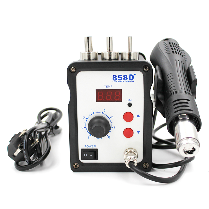 858D+ 220V Hot Air Gun 700W ESD Soldering Station LED Digital Heat Gun Desoldering Solder Station Upgrade From 858D Air Nozzles-in Heat Guns from Tools on