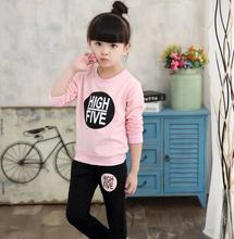 Sportswear for Girls 3-12Y Kid's Sport Suit Letter Long Sleeve T-shirt for Girls + Striped Pant Autumn Winter Girls' Clothes недорого