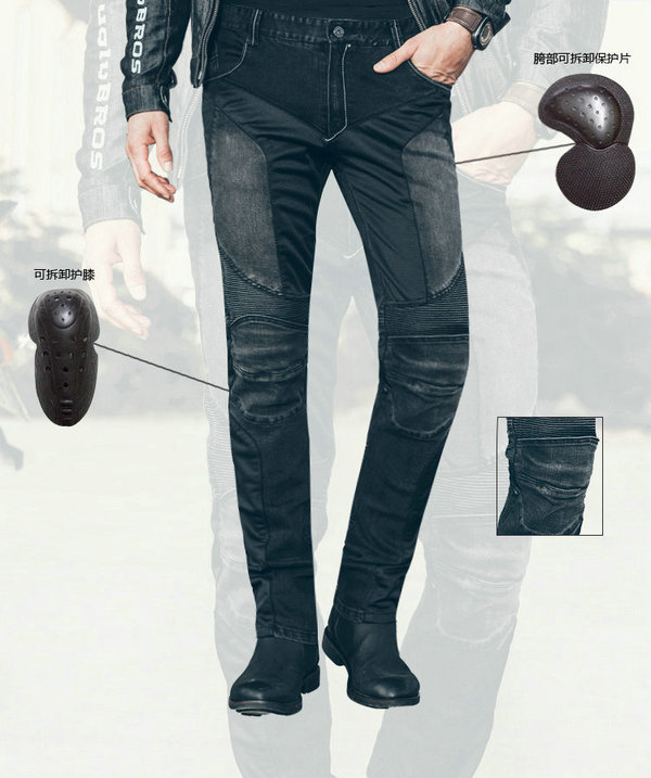 ФОТО uglyBROS motorcycle casual style riding jeans men's motorcycle protective pants black knight trousers with protective gears