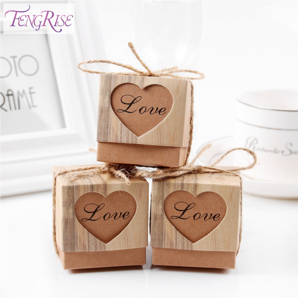 FENGRIS 50pcs Heart Candy Boxes Romantic Wedding Gifts For