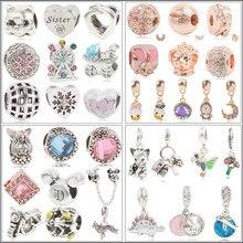 2019 New Original Sliver Plated Bead Mickey Moon Fairytale Dumbo Love Charm Fit Pandora Bracelet Necklace DIY Women Jewelry Gift
