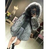 FURSARCAR Fashion Luxury Real Fur Coat Silver Fox Fur Coats Genuine Leather Women Overcoat Winter Thick Warm 70cm Long Clothing