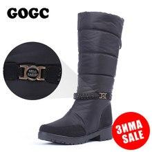 GOGC/непромокаемые зимние сапоги, женские зимние сапоги, коллекция 2018 года, теплая зимняя обувь, женские удобные брендовые сапоги до колена черного цвета, большие размеры