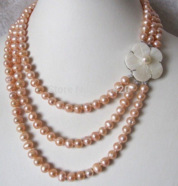 166e7d82478c Envío libre  caliente 17-20 7-8mm Rosa 3Row cultivadas perlas collar
