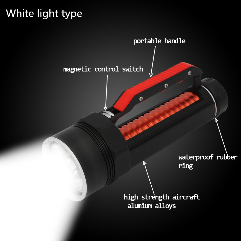 Diving Flashlight 6x CREE XM-L2 LED 4800LM White Light Waterproof Scuba Lamp Underwater Dive Torch 26650 Lanterna scuba diving flashlight dx4s underwater hunting torch waterproof dive lamp 4x cree xm l2 white light 18650 26650 led torch