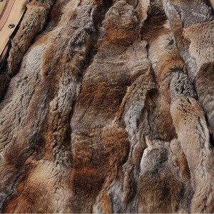 Image 4 - Maomaokong טבעי ארנב פרווה נשים ארוך מעיילי אמיתי שועל פרווה מעיל חורף מעיל טבעי דביבון פרווה צווארון parka נשים של מעיל
