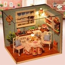 Домик столовая миниатюрный крышкой кукольный модель деревянный дом мебель кухня ручной