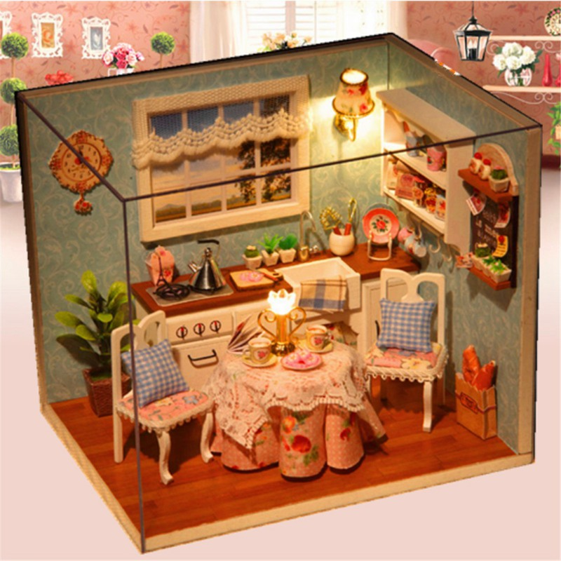 ᐃDIY 3D madera Dollhouse miniatura comedor modelo kit con cubierta ...