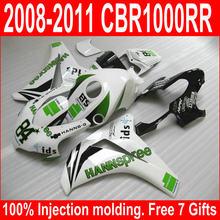Customize OEM quality Fairing Kit Fit For Honda CBR1000RR 08-11 White Green Fairings Set CBR 1000 RR 2008-2011 XM35