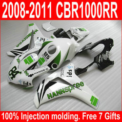 Customize OEM quality Fairing Kit Fit For Honda CBR1000RR 08-11 White Green Fairings Set CBR 1000 RR 2008-2011 XM35