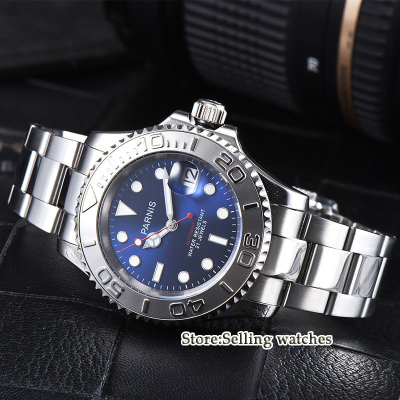 41mm parnis blue Dial Sapphire Crystal Date 21 jewels Miyota Automatic Mechanical men's Watch romantic sweet gifts 43mm parnis white dial luminous marks sapphire crystal 21 jewels miyota automatic mechanical men s watch