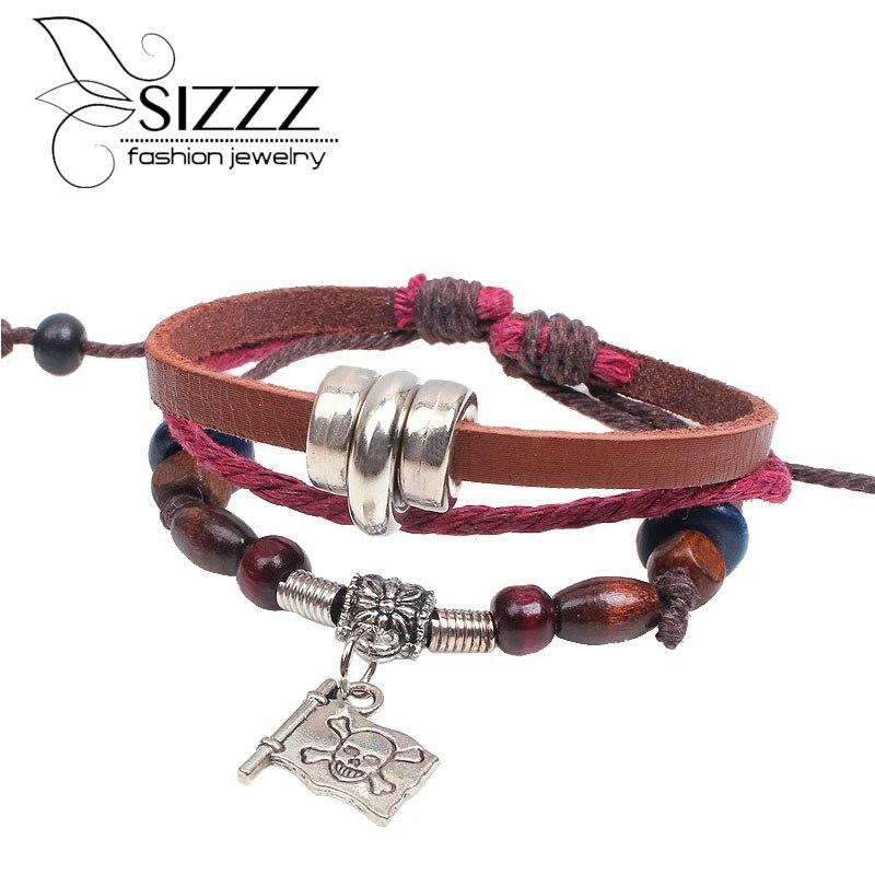 2016 fashion jewelry hand woven alloy skeleton flag wood beads mens leather bracelets wholesale adjustable bangle for pop boys